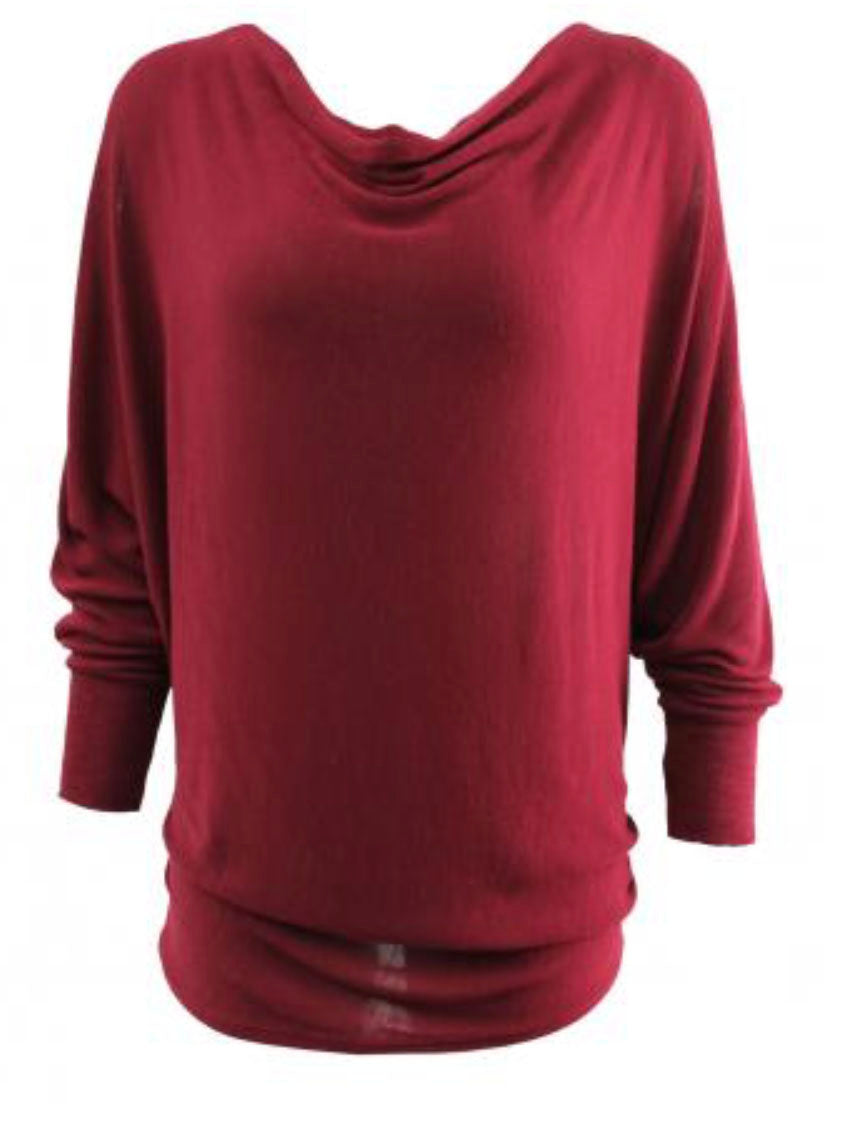 Cowl Neck Top Red