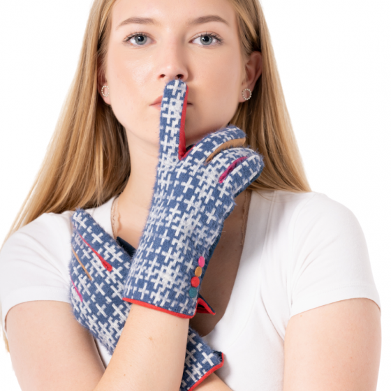 Blue Crosshatch Gloves