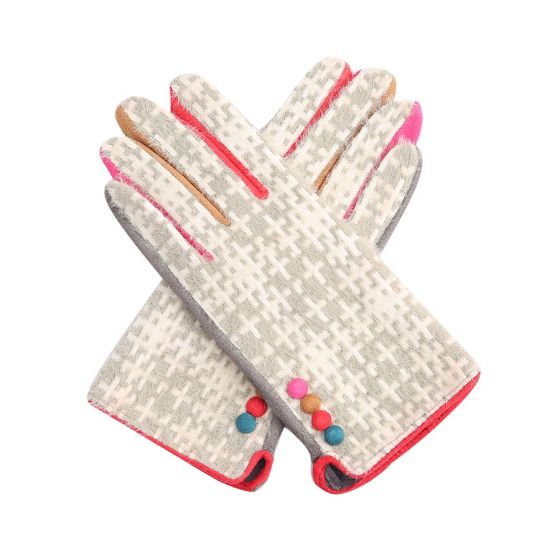Grey Crosshatch Gloves