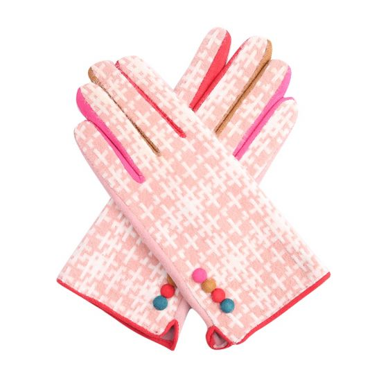 Pink Crosshatch Gloves