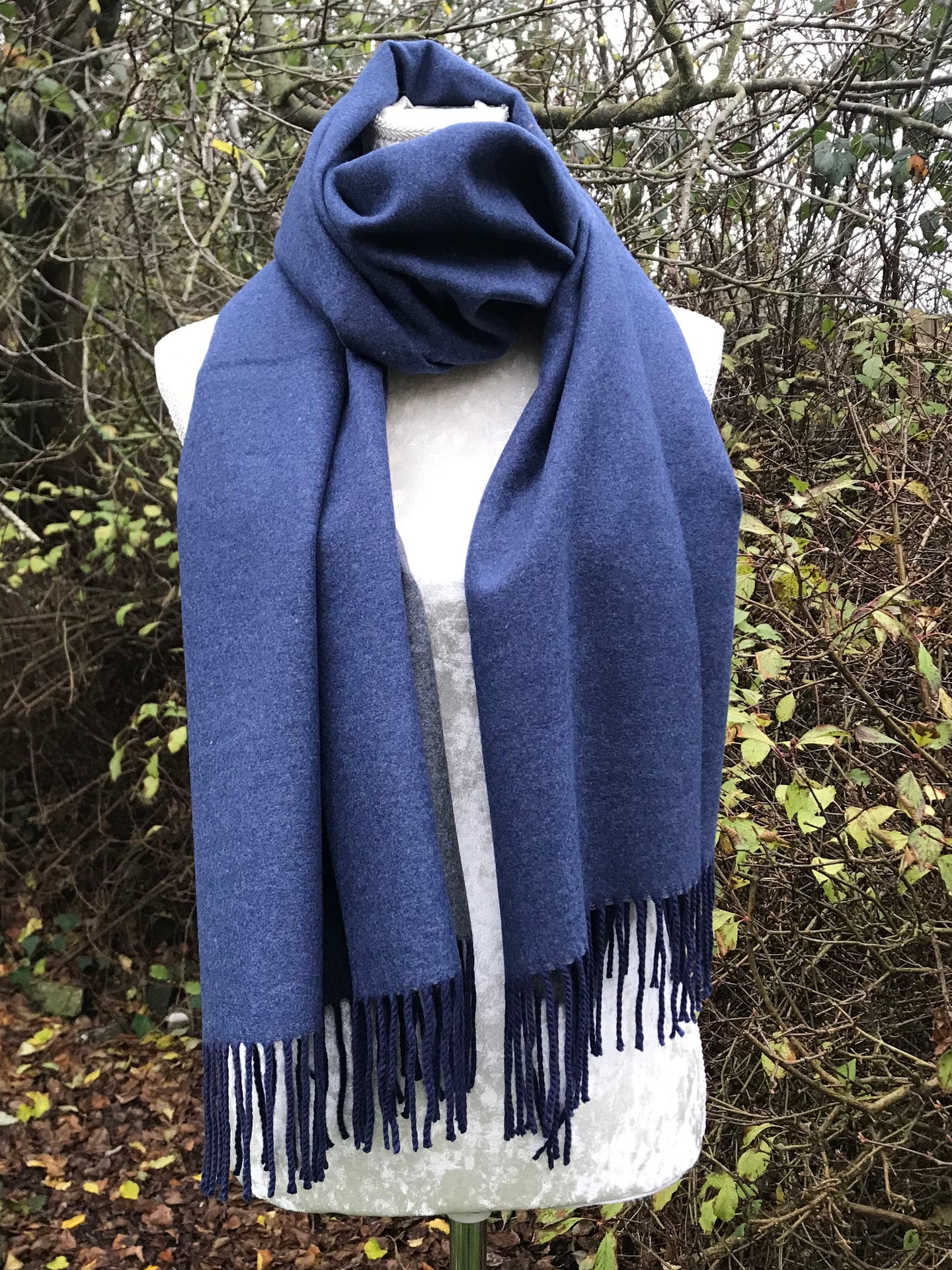 Double Sided Plain Pashmina Navy & Grey