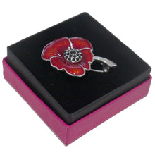 Enamel & Crystal Poppy Brooch