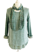 Teal Blue Floral Scarf Jumper