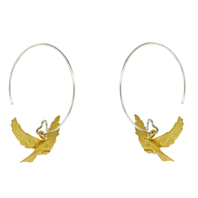 Flying Bird Hoop Earrings