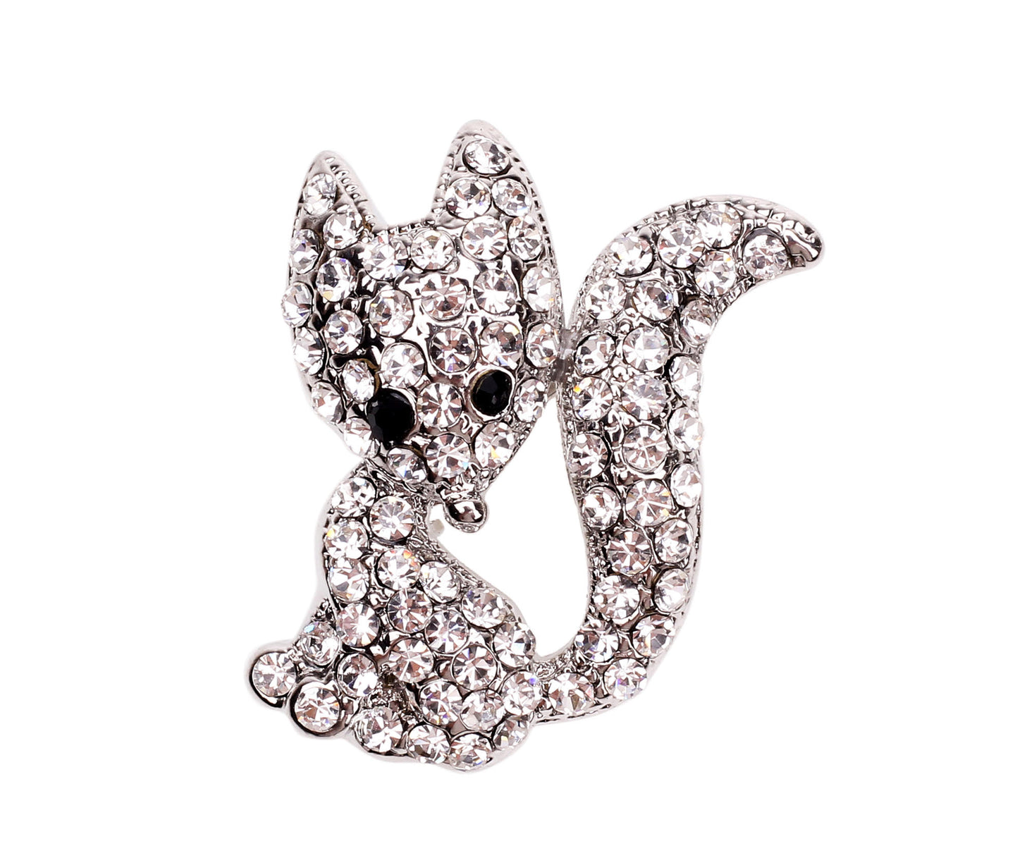 Diamante Fox Brooch