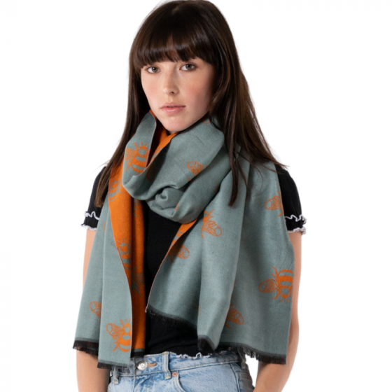 Duck Egg Blue Giant Bee Pashmina