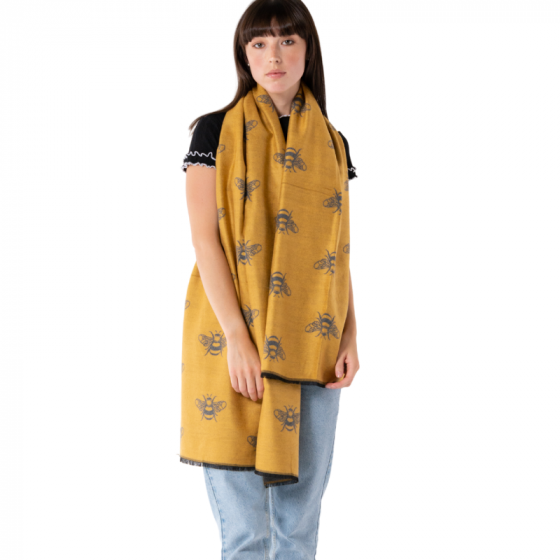 Mustard Yellow Giant Bee Pashmina