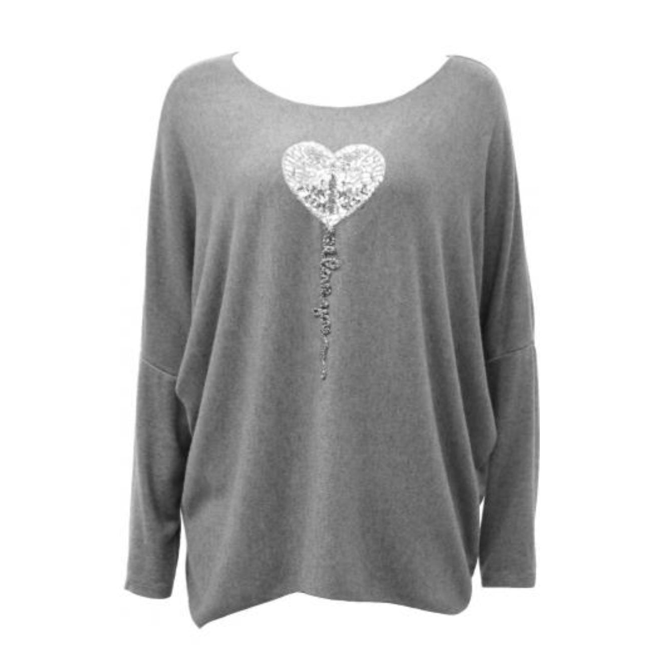 Grey Heart Jumper