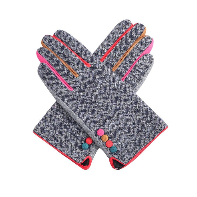 Blue Herringbone Gloves