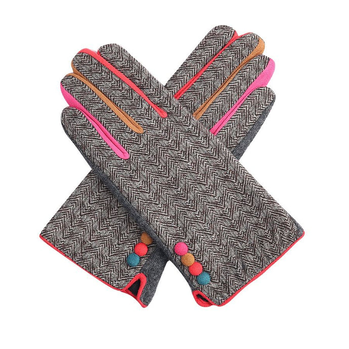Brown Herringbone Gloves
