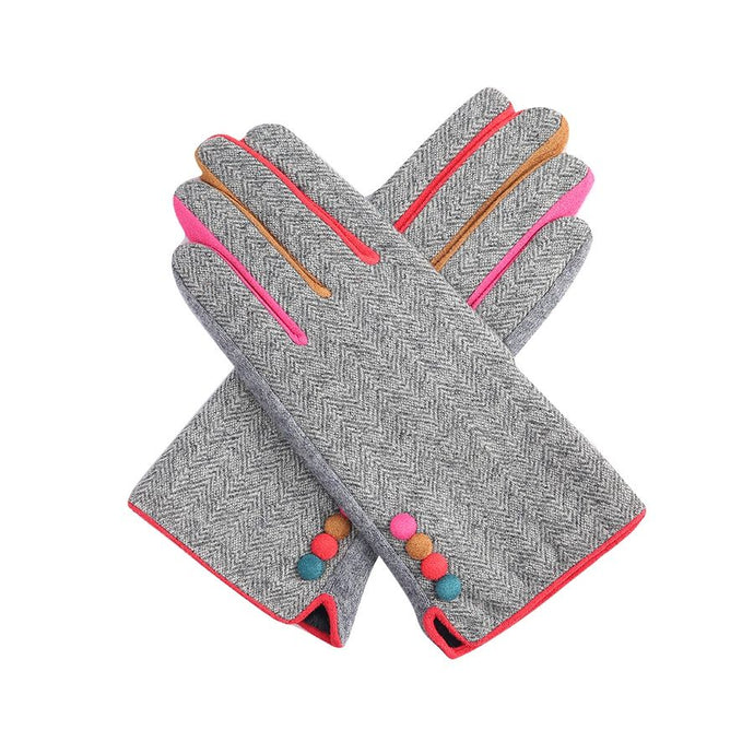 Grey Herringbone Gloves