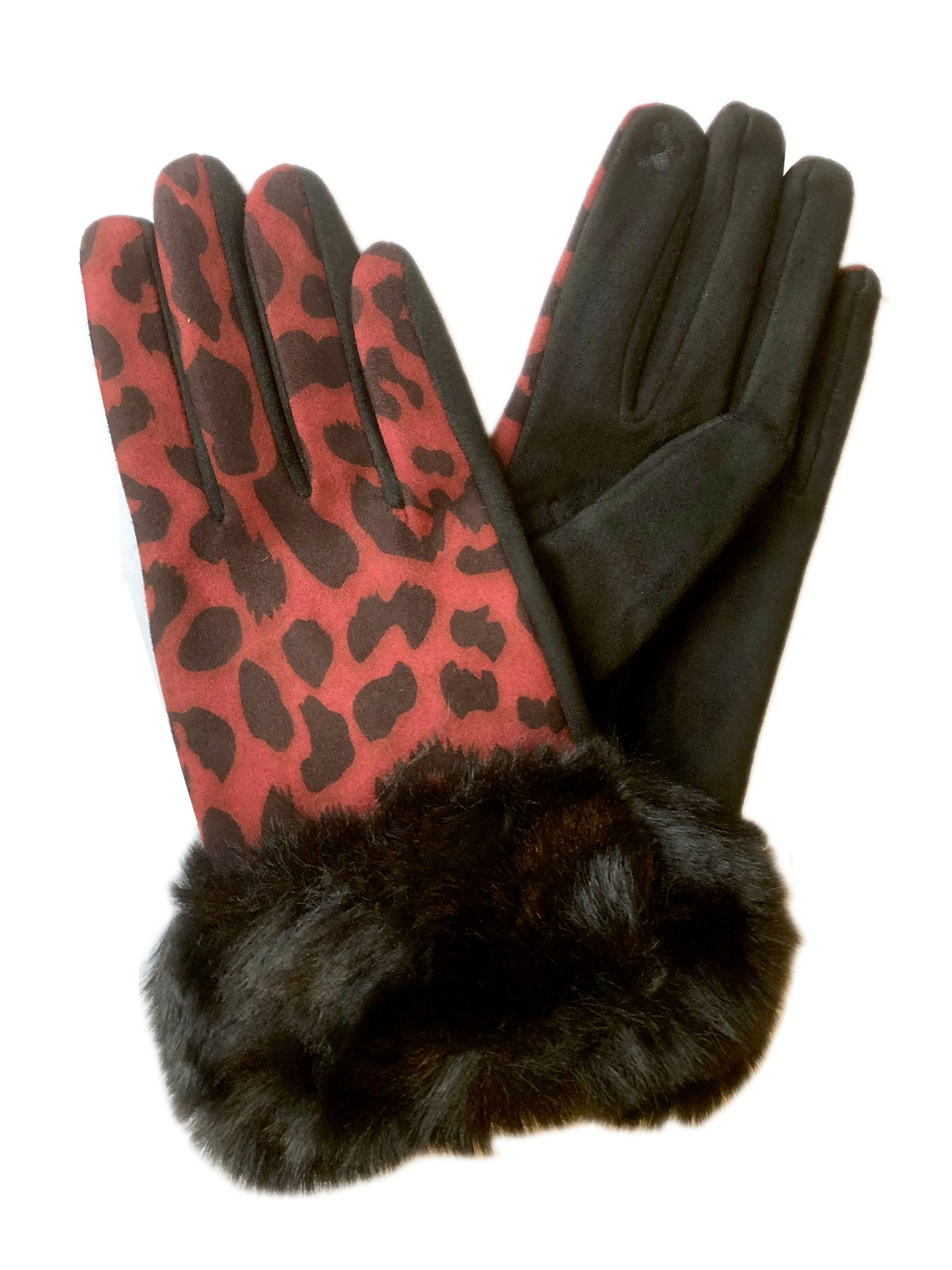 Leopard Print Gloves Red