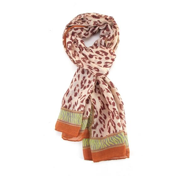 Orange Leopard and Zebra Print Scarf