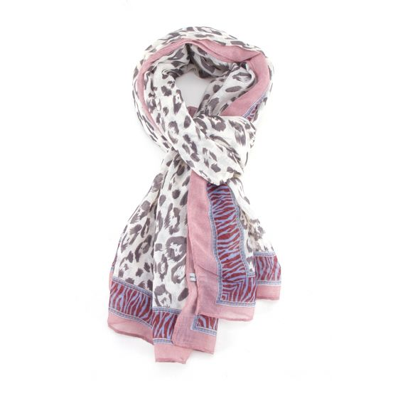 Pink Leopard and Zebra Print Scarf