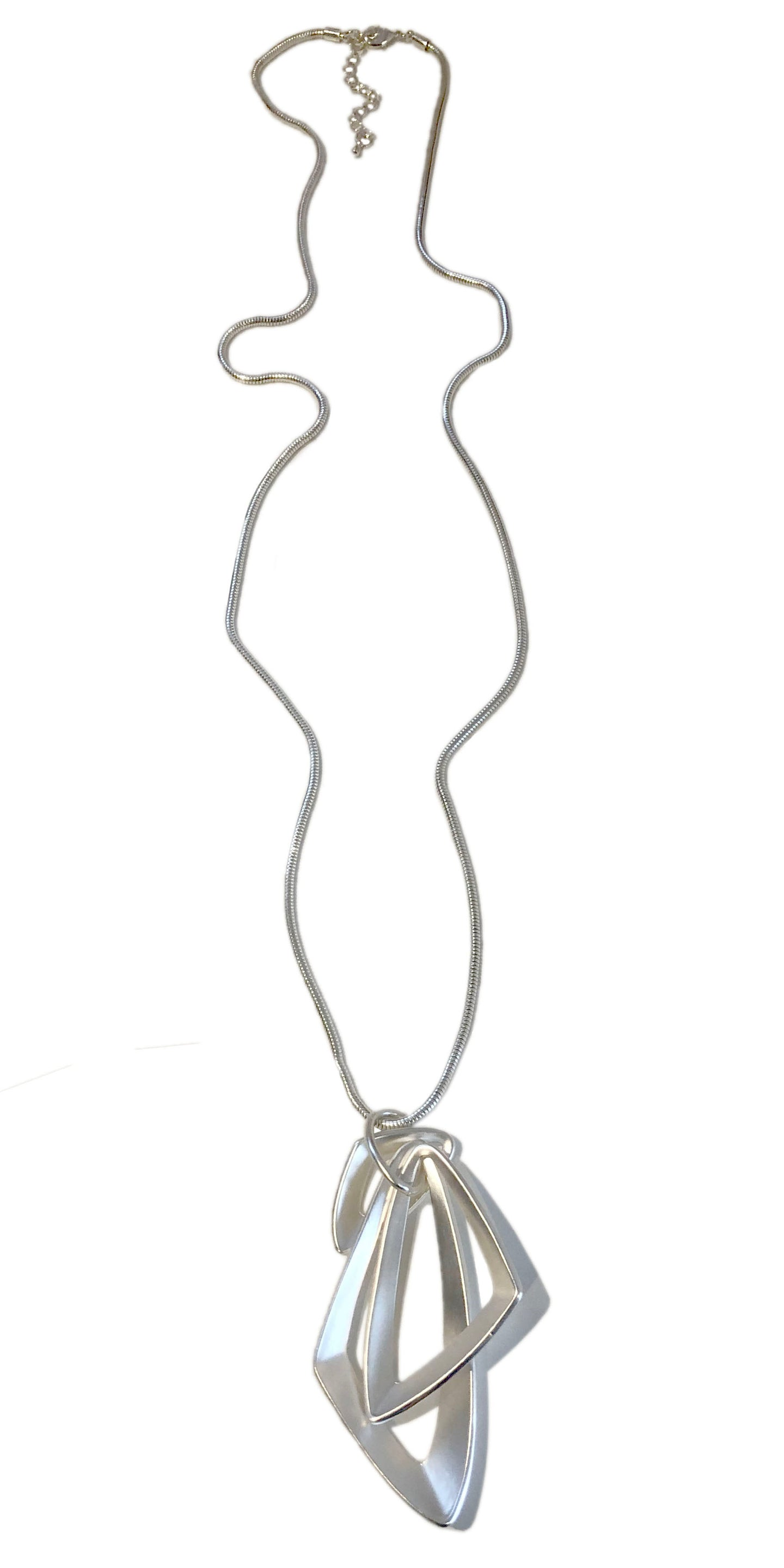 Abstract Silver Long Necklace