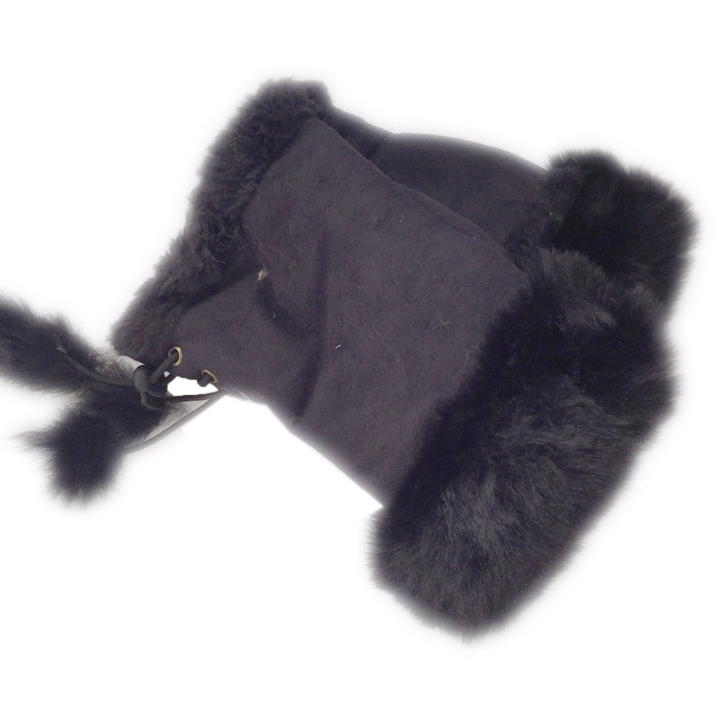 Black Faux Fur Mittens