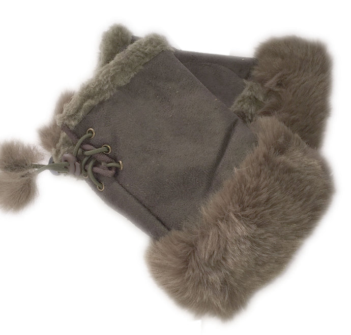 Dark Grey Faux Fur Mittens