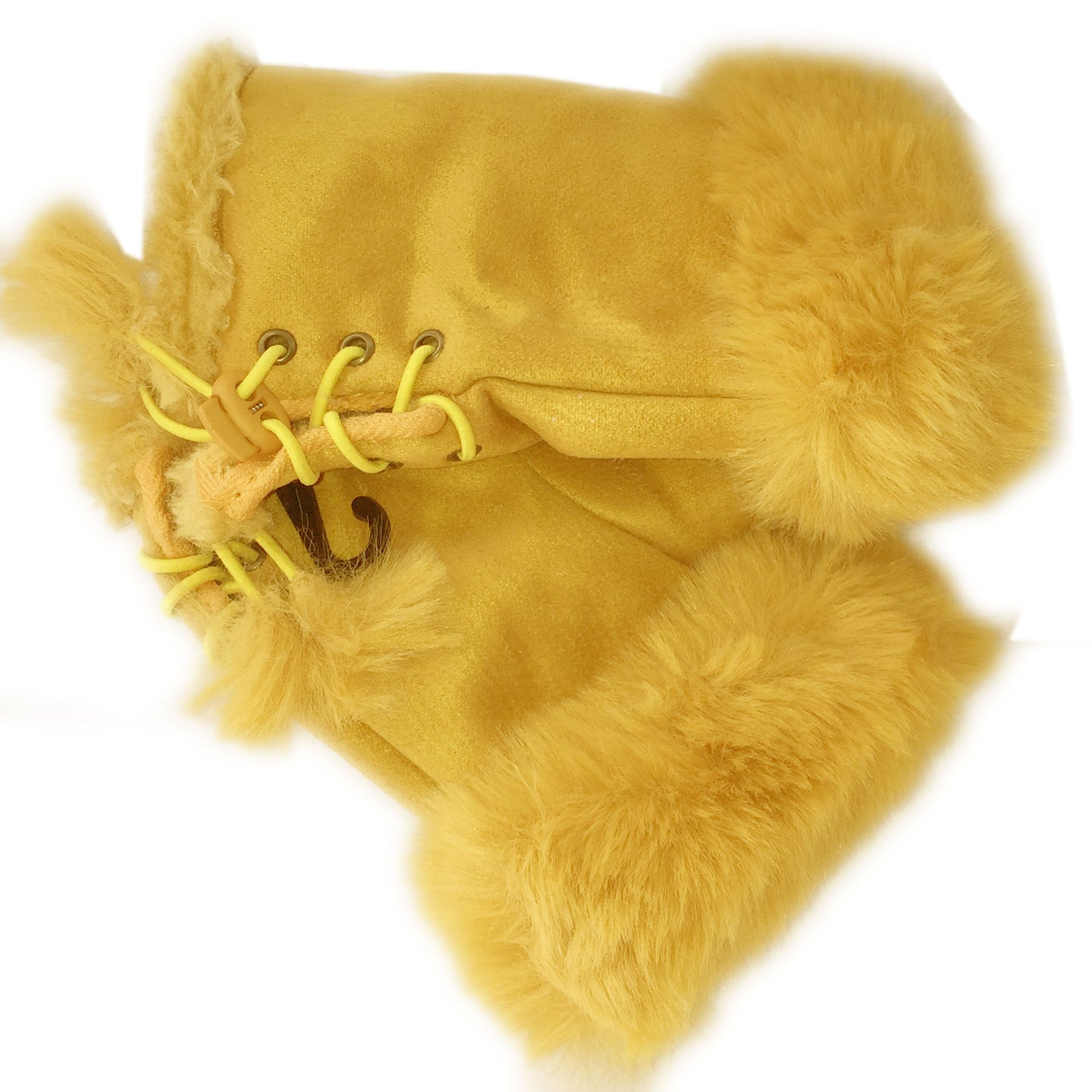 Yellow Faux Fur Mittens
