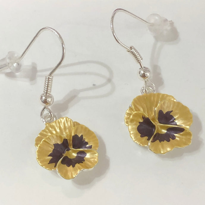 Yellow Pansy Earrings
