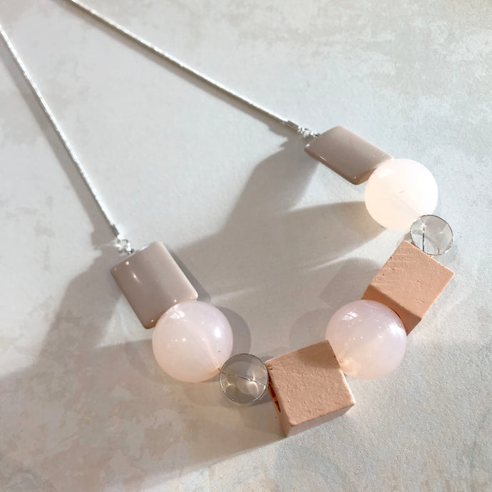 Pastel Cubes and Circles Necklace