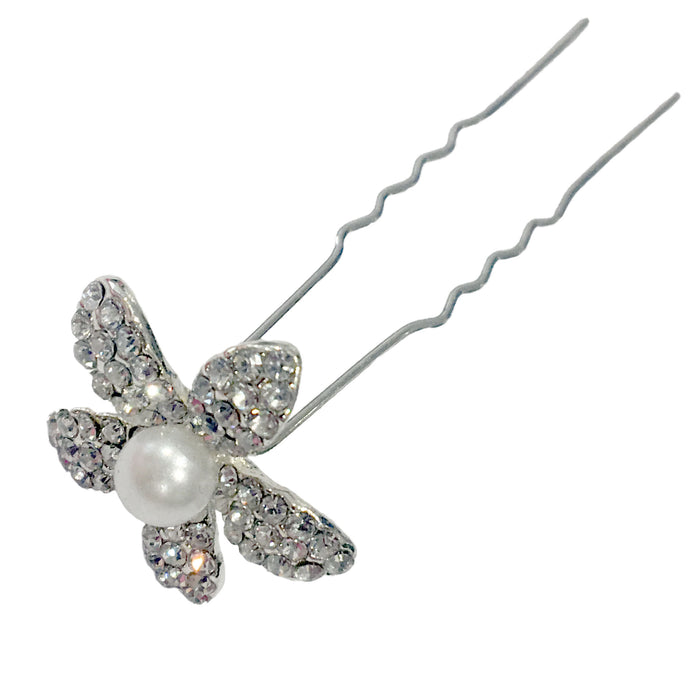 Flower Diamante & Pearl Hairpin