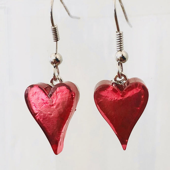 Pink Resin Heart Earrings