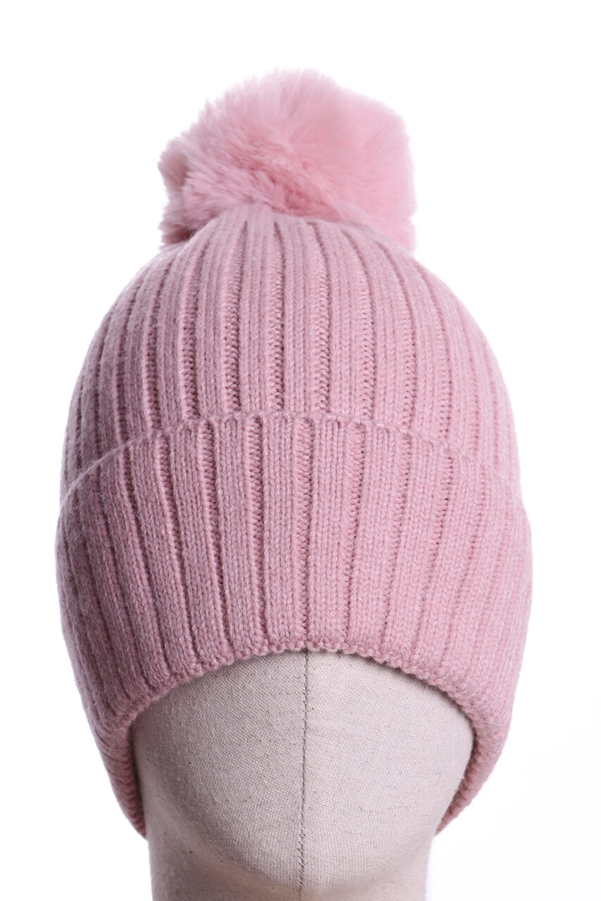 Pale Pink Pompom Bobble Hat