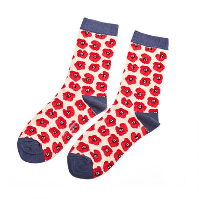 Cream Poppies Socks