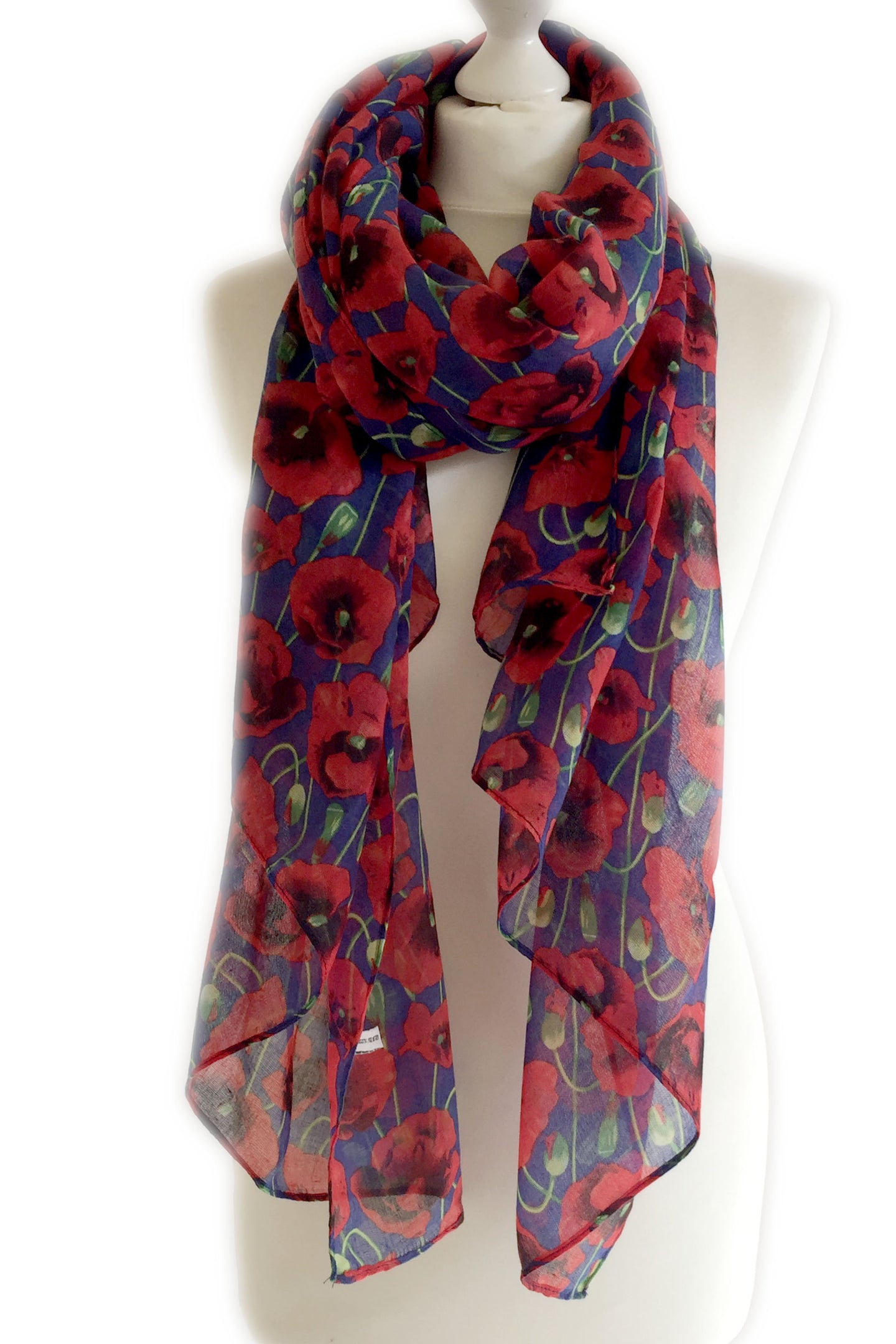 Navy Blue Poppy Scarf