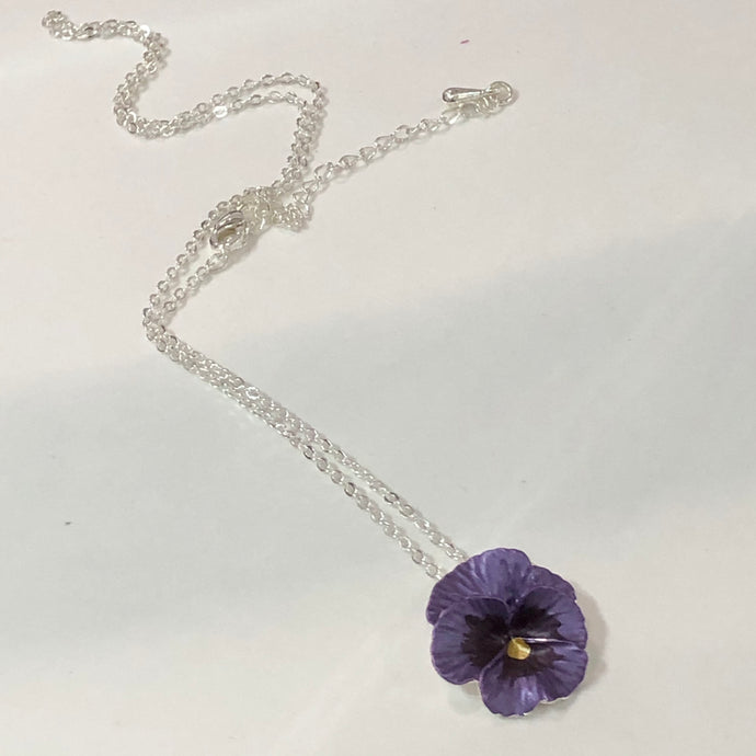 Purple Pansy Pendant Necklace