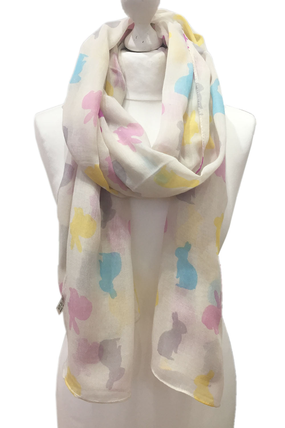 White Bunnies Scarf- Bunny rabbit printed chiffon wrap scarf