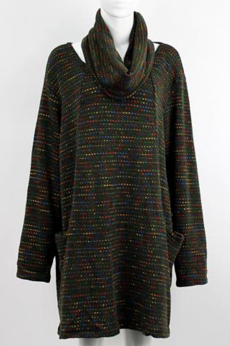 Dark Green Rainbow Spotty Knitted Tunic & Snood