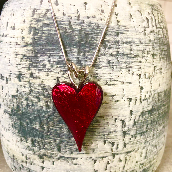 Red Resin Heart Necklace