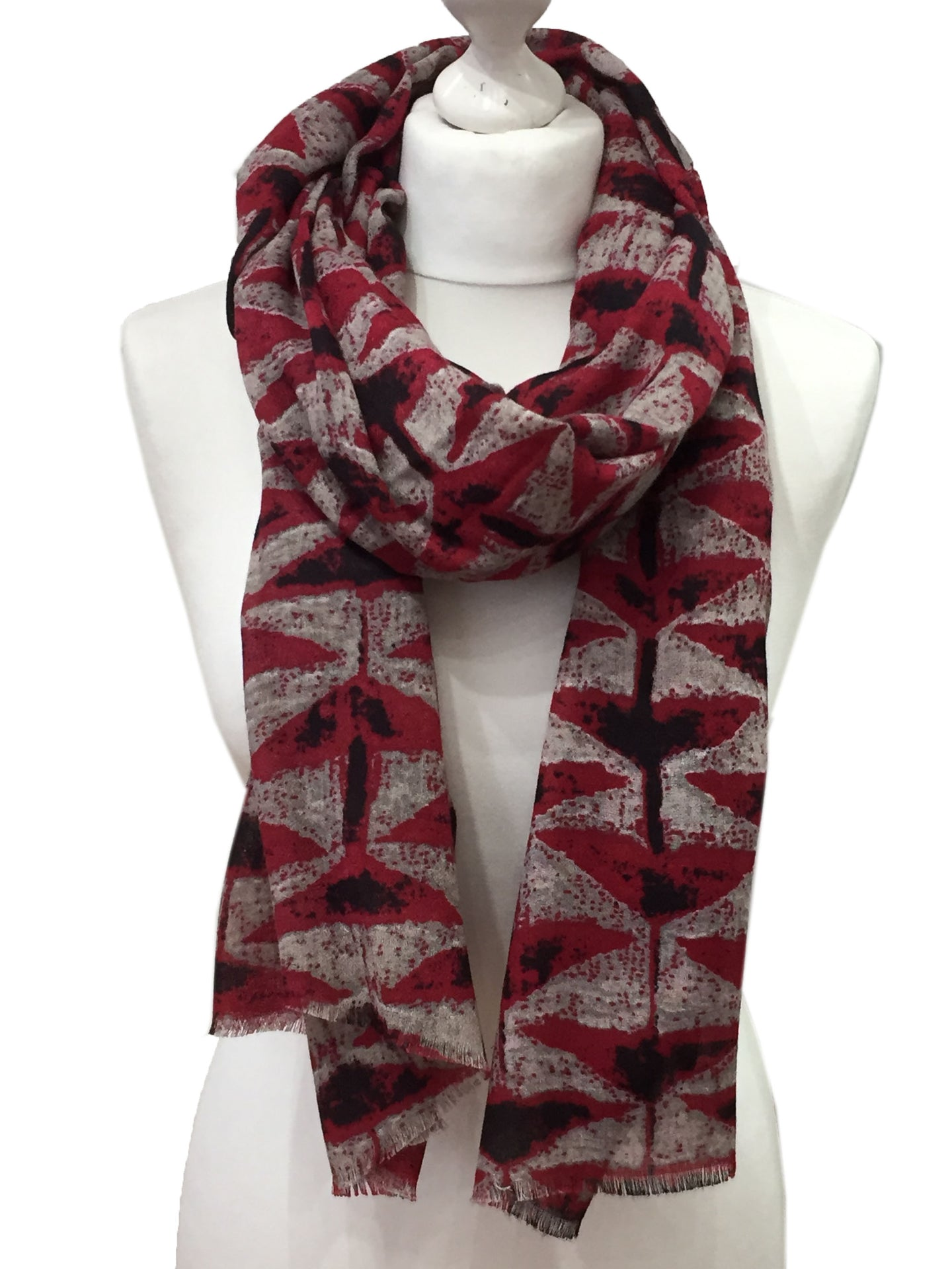 Red Retro Triangle Printed Scarf