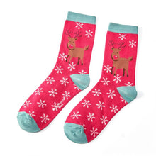 Dark Red Rudolph Socks