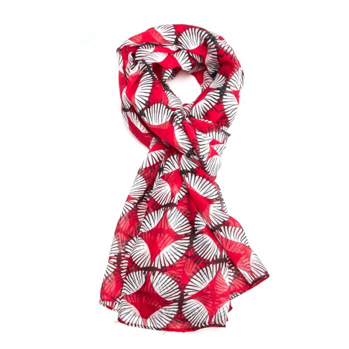 Red Scandi Circles Scarf
