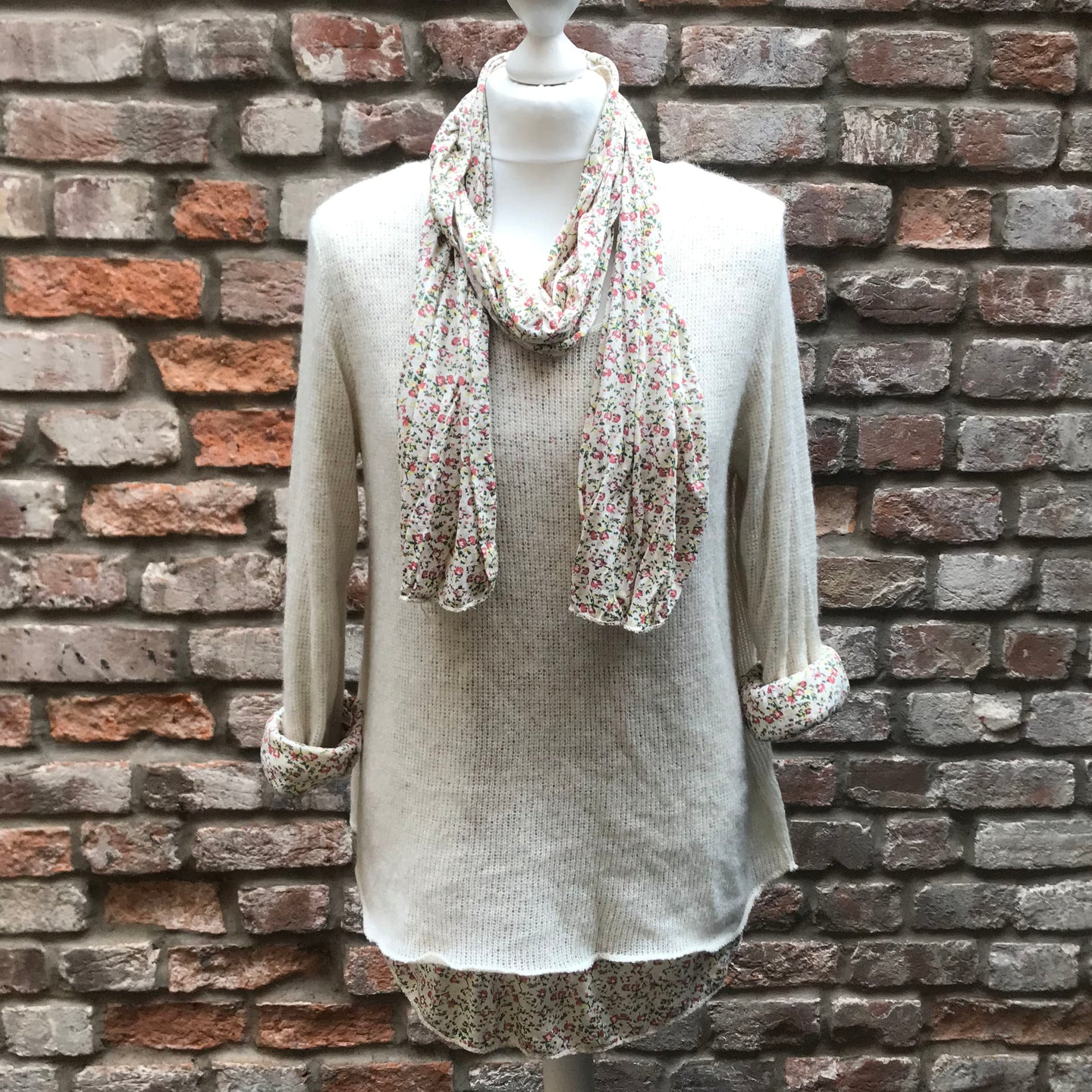 Cream Floral Scarf Jumper