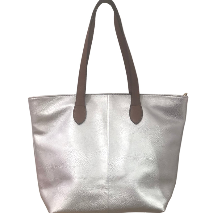 Silver Shopper- Tote Handbag