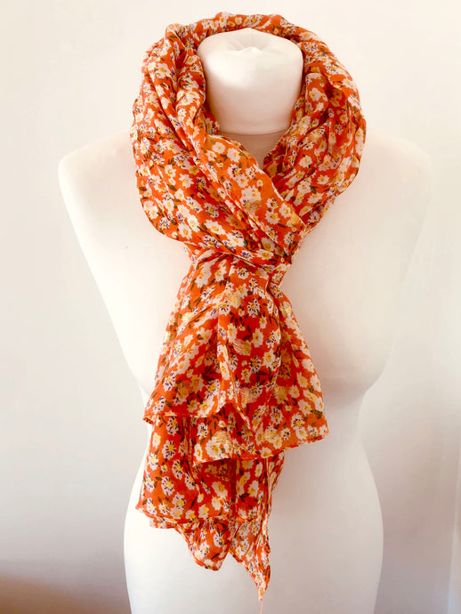 Orange Metallic Daisy Print Scarf