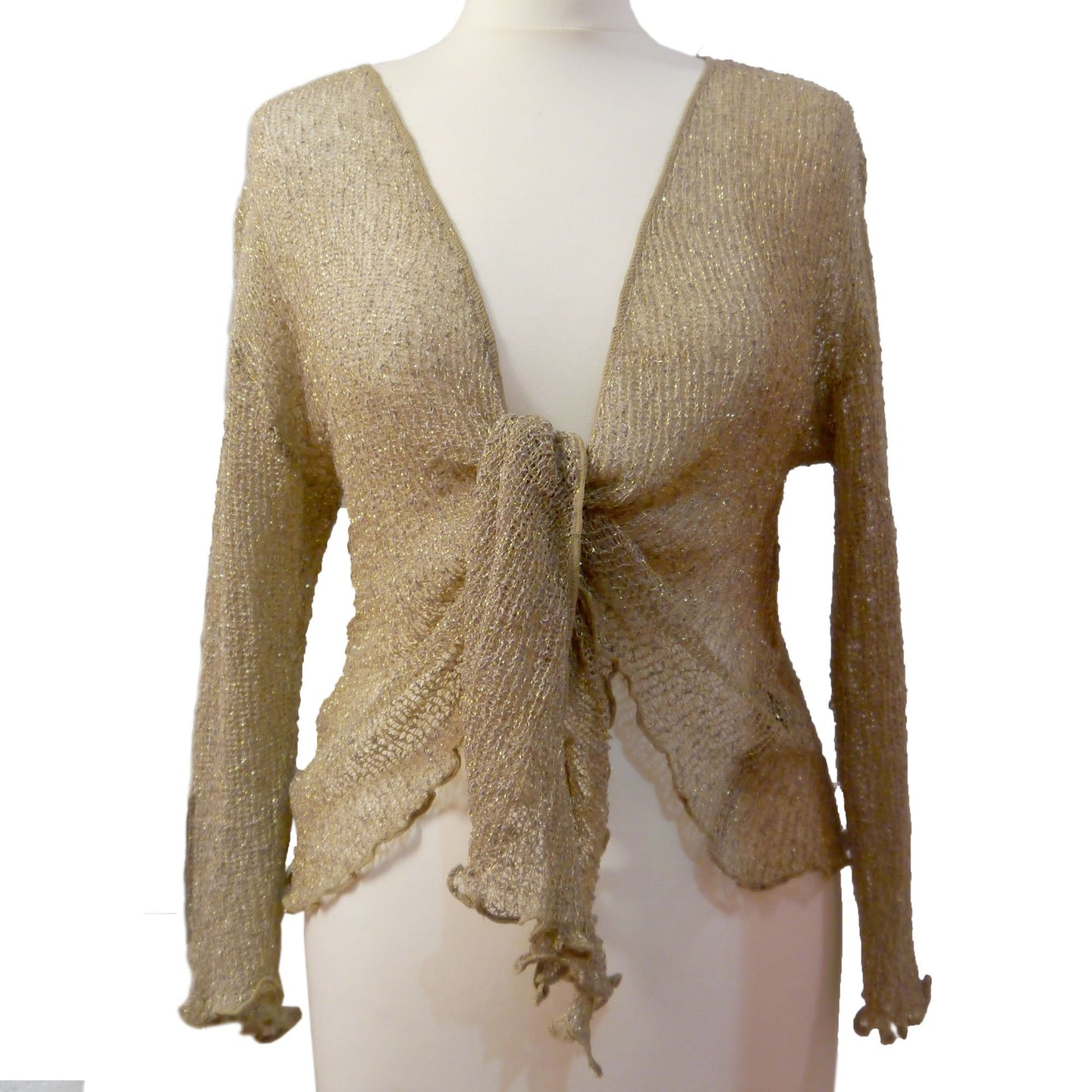 Gold and Gold Sparkly Crochet Shrug