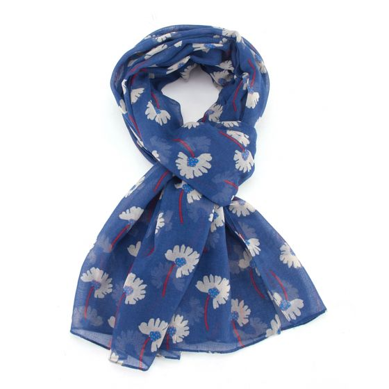 Navy Blue Spotty Floral Scarf