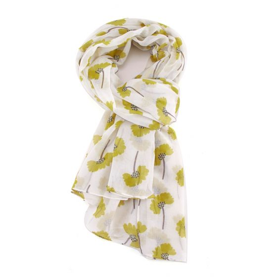 White Spotty Floral Scarf