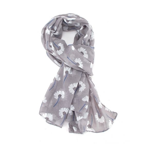 Grey Spotty Floral Scarf
