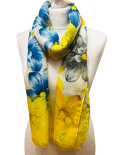 Yellow & Blue Spring Flowers Scarf