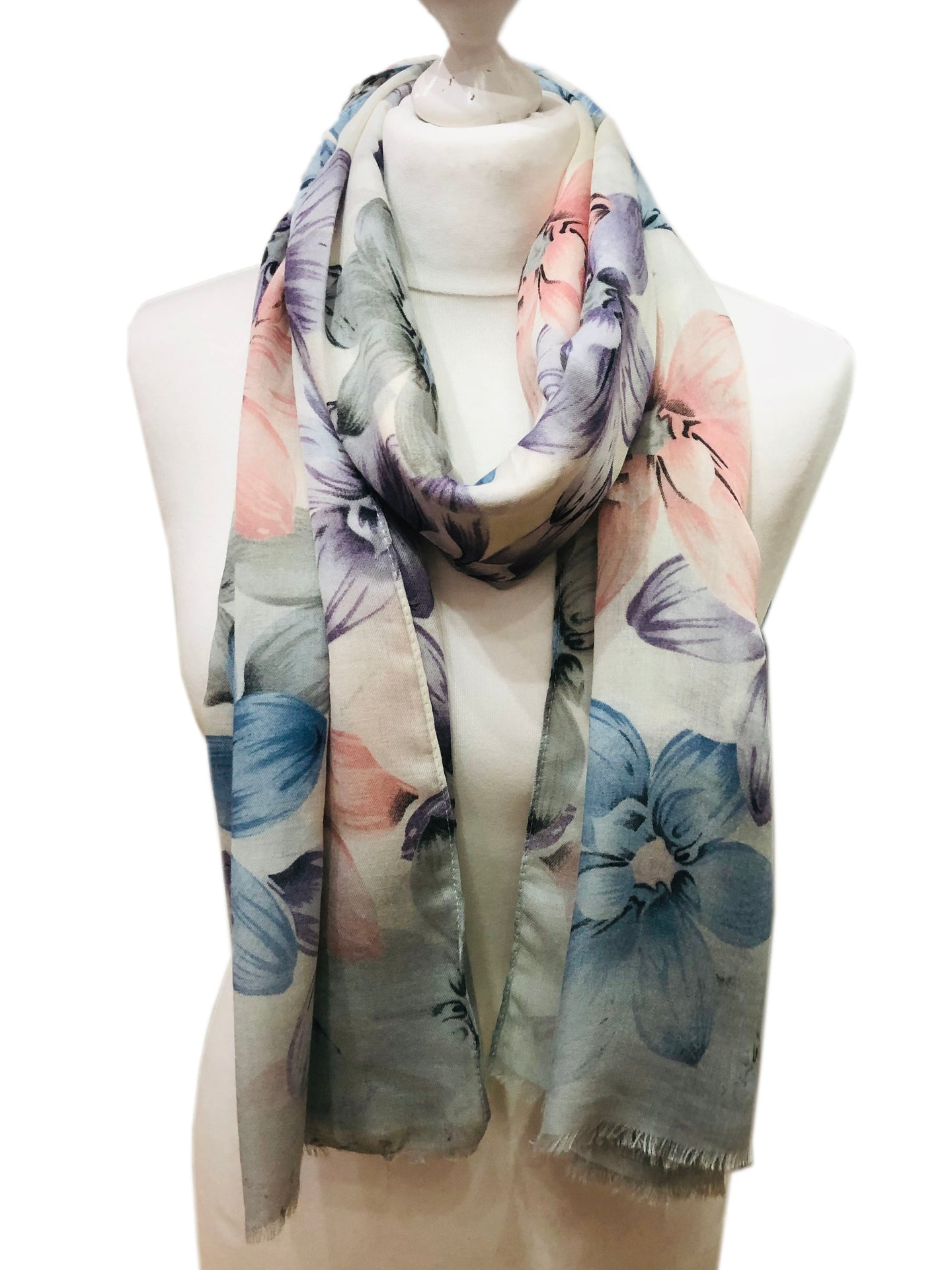 Lilac and Blue Spring Flowers Scarf