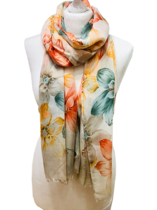 Orange & Mint Spring Flowers Scarf