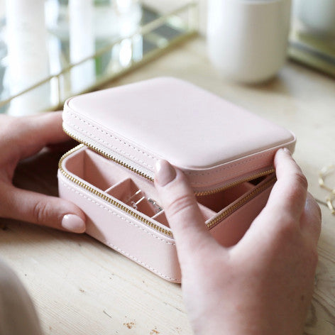 Square Travel Jewellery Box in Pale Pink