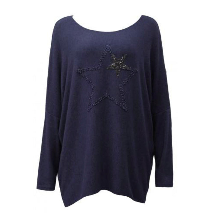 Navy Blue Star Soft Knit Top