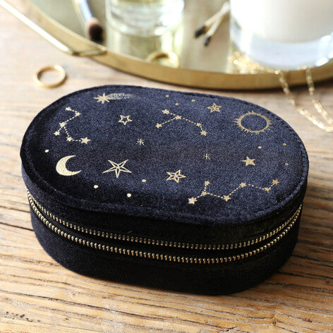 Starry Night Velvet Oval Jewellery Case in Black