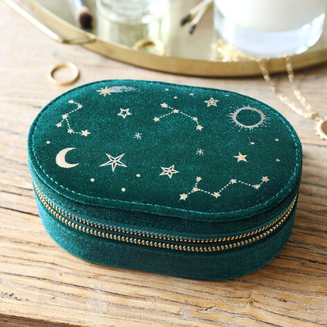 Starry Night Velvet Oval Jewellery Case in Teal